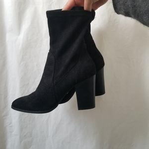 Black Suede Ankle Booties Suede Like